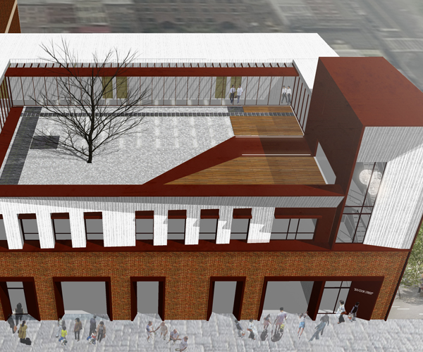 This project is an existing warehouse renovation project locates in historical manufacturing area in Queens. In order to maintain the existing industrial elements and introducing new architecture figure at the same time, the previous first floor red-brick façade in remained and accompanied with new Cor-Ten steel and white concrete panels on the second and third floors.